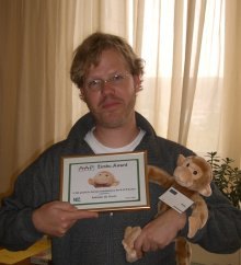 Adriaan with his award and Zimbu himself